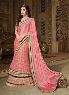 Superb Pink Colored Embroidered Crape Net Lehenga Saree 10122