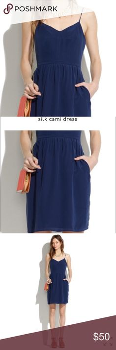 Madewell navy blue silk cami dress Lovely silk dress with handy pockets, sold out at Madewell. It's a size 2 (fits s or xs for a slightly oversized fit) worn a few times,  just dry cleaned ! Madewell Dresses Mini