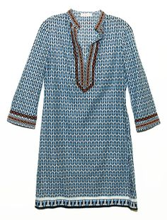 A breezy shape with a clever letter pattern: The T-Print dress | Tory Burch + Saks Fifth Avenue Tunic Collection