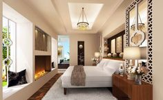 Modern Master Bedroom Interior Design: lines create serenity while pattern adds interest. Luxury Living Room, Luxury Living Room Design, Home, Home Bedroom, Modern Bedroom, Luxury Master Bedroom Suite, Luxury Bedroom Master, Interior Design Bedroom, Master Bedroom Colors
