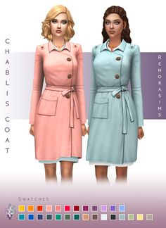 The Sims 4 Chablis Trench Coat by renorasims Sims 4 Mods, Sims 3, Sims 4 Mm Cc, Sims Four, Sims 4 Game, Maxis, Vêtement Harris Tweed, Sims 4 Dresses, Party Dresses