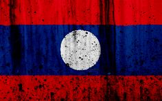 Download wallpapers Laotian flag, 4k, grunge, flag of Laos, Asia, Laos, national symbols, Laos national flag