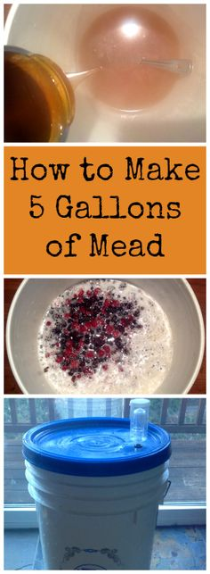I've shown you how to make one gallon of mead, now it's time to up your game! Here's how to make 5 gallons of mead. You won't believe how easy it is to brew your own simple honey wine. Homebrewing all natural mead has never been so delicious (and easy! Wine And Liquor, Wine And Beer, Beer Brewing, Home Brewing, Mead Wine, Gin, How To Make Mead, Mead Recipe, Honey Wine