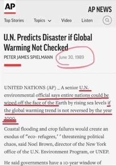30 years later and no countries wiped off the map. Sounds like a government tax scheme. Global Cooling, Liberal Logic, Political Events, Words To Describe, You Funny, Amazing Quotes, Global Warming, Things To Know, Climate Change