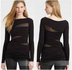 blusa importada manga longa preta com recortes em tule
