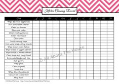 Kitchen Cleaning Record from the cleaning set. Available in 5 different colours from: https://www.etsy.com/listing/127573617/cleaning-printables-household-binder?ref=shop_home_active
