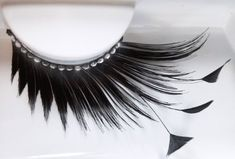 Elegant Lashes D879 Premium Feather Eyelash (Long, Thick Black False Eyelash with Feather Accent Tips and Rhinestone Band) Halloween Dance Rave Costume. 1 pair of premium rhinestone feather eyelashes. Gorgeous professional-quality black feather eyelashes for makeup artists and beauty professionals. Extra-large, dramatic black eyelashes with 3 black feather accent tips and stunning rhinestone band. Instantly add sparkle and drama to your eyes. 100% handmade with love and care; reusable.