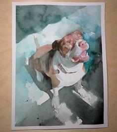 6/4/2017 watercolor    The mighty Gwen. Squirrel watcher.   #watercolor #painting #dogs #doglove #fineart #art #contemporaryart #instagram #instaart #Gwen #handpainted #gift #watercolour #nickrungeart