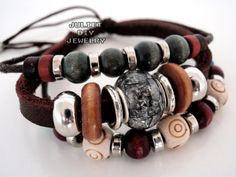 Multi strand beaded leather bracelet