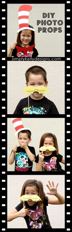 DIY Dr. Seuss Photo Booth Props by Simply Kelly Designs - perfect for your Dr. Seuss theme!