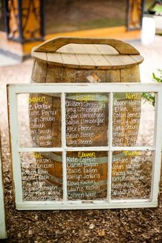 Window pane wedding chart. Love it! and my mom already has a couple saved in her basement lol