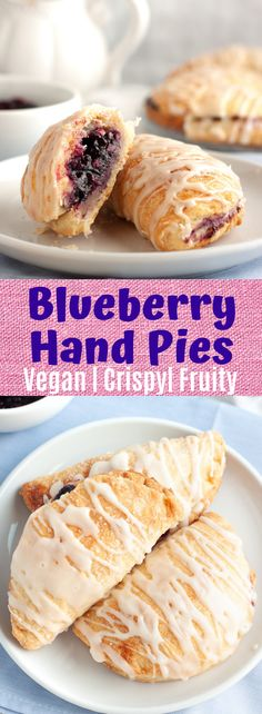 This vegan blueberry hand pie recipe is soft, crispy, filled with a sweet blueberry filling and topped with a simple dairy free lemon vanilla glaze! Paleo, Healthy Vegan Desserts, Vegan Dessert Recipes, Pie Recipes, Fodmap Recipes, Vegan Treats, Blueberry Hand Pies Recipe, Vegan Blueberry, Blueberry Recipes