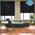 iFit Cut-to-Width Black Cordless Light Filtering Acrylic Coated Polyester Fabric Roller Shade - 55.5 in. W x 73 in. L