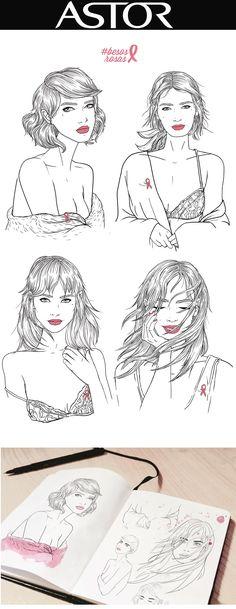 Astor Sara Herranz, Astor, labios rosas, pink  lips, cancer, AECC, cancer de mama, sara herranz, illustration, lámina, prints, cuaderno, moleskine