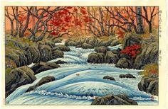 ITO TAKASHI Japanese Woodblock Print FALL LEAVES 1949