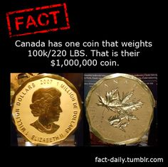 Canada has a Gold Coin that wts. 220 lbs!!! And, its Worth $1,000,000!!! OMGosh!!! Fact Daily
