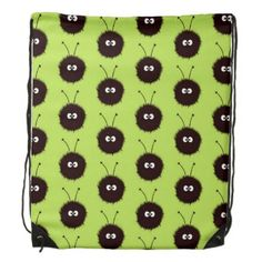 Green Cute Dazzled Bugs Pattern Drawstring Backpack