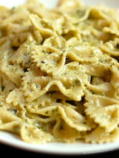 A favorite and easy to make! Creamy Pesto Pasta Recipe from @wearsmanyhats