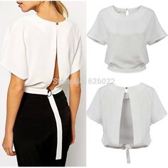 Find More Blouses & Shirts Information about 2015 New Women's Retro White color Backless Buckle Hem O neck Short Sleeve Shirt Blouse Vest Tee Tops,High Quality tee shirt a style,China blouses for women 2013 Suppliers, Cheap blouse men from Sexy Lady Fashion World Co.,ltd on Aliexpress.com