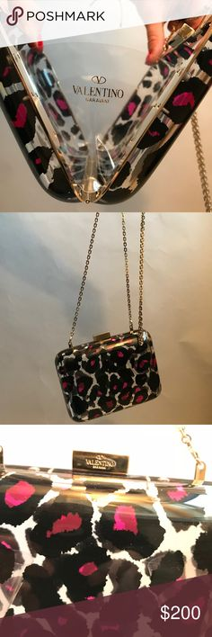 Fun Tiny Valentino purse Pink leopard print clear purse. Small bag with a long, thin, elegant gold chain. Authentic Valentino Purse, Never Used Valentino Bags