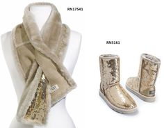 743e8b696ea65 UGG Classic Short Sequin Boot gold RN3161  amp  UGG scarf RN17541  fashion   clothing