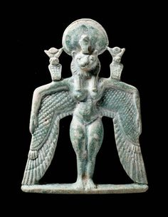 Amulets like this one were found in the burials of early Napatan queens. Made of blue-green glazed faience, they depict a nude, winged, lion-headed goddess crowned with a sun disc and uraeus. The wings bend sharply downward, and on each arm is a uraeus crowned with horns and a sun disc. The identity of he goddess is uncertain. A hieroglyphic inscription runs down the back. http://www.mfa.org/collections/object/winged-goddess-pectoral-145674