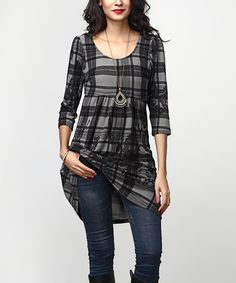 Another great find on #zulily! Charcoal Plaid Paisley Empire-Waist Tunic Dress #zulilyfinds