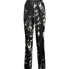 Roberto Cavalli Printed silk crepe de chine tapered pants (360 CAD) ❤ liked on Polyvore featuring pants, black, drawstring waist pants, silk trousers, loose pants, loose fit pants and stretch waist pants