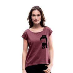Geschenke Shop   Katze in Tasche schwarz - Frauen T-Shirt mit gerollten Ärmeln Shirt Diy, Funny T Shirts, Ebony Women, Cotton Textile, Women's T Shirts, Cat Breeds, Cotton