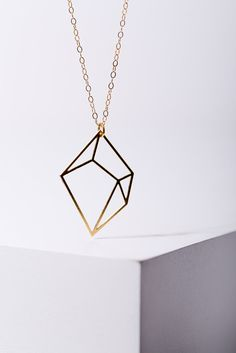 MIZYAN's gold plated 3D cubic necklace, geomertic accessories