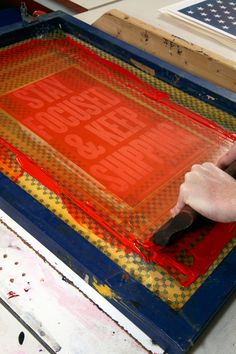 """Barry pulls fresh ink across the """"Stay Focused and Keep Shipping"""" screen. He prints in editions limited to 100 or fewer. Screen Printing Process, Printing Press, Team Activities, Research Lab, Letterpress Printing, Up And Running, Portfolio Design, Typography, Design Inspiration"""