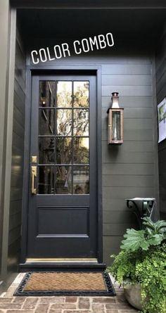 House Exterior Paint Colors Entry Doors Ideas - home/decor House Paint Exterior, Exterior House Colors, Exterior Design, Interior And Exterior, Black Trim Exterior House, Exterior Paint Ideas, Grey Siding House, Outdoor House Colors, Black Windows Exterior