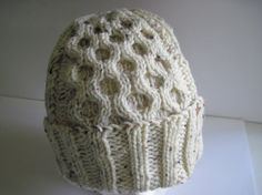 Hand Knitted Ivory Tweed Single Honeycomb Panel Watchcap by MulliganYarns Honeycomb, Free Knitting, Yarns, Tweed, All Things, Buy And Sell, Ivory, Handmade, Stuff To Buy