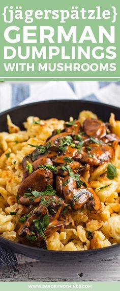 You don't need to travel to Munich to eat this traditional German dish called Jägerspätzle! This Bavarian classic is often served at the Oktoberfest and makes for a seriously exciting family dinner. They are small dumplings made from flour, eggs and milk. The sauce is a delicious rich Mushroom gravy, perfect for fall! My recipe was handed down to me by my Bavarian grandmother, so it's 100% authentic and tastes simply amazing.