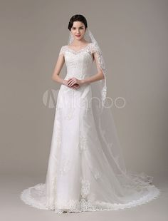 2017 Vintage Lace Bridal Dress With Cap Sleeves And Tiered Train(Veil not included) Milanoo & Wedding > Wedding Dresses > Vintage wedding dress Budget Wedding Dress, Mini Wedding Dresses, Luxury Wedding Dress, Bridal Dresses, Bósnia E Herzegovina, Vintage Lace Weddings, Bridal Lace, Bridal Boutique, Cap Sleeves