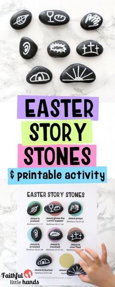 How to Make Easter Story Stones - Plus a FREE Printable Sequencing Page Easter Story Stones Bible Craft Sunday School Crafts For Kids, Bible Crafts For Kids, Preschool Crafts, Diy Ostern, Story Stones, Easter Activities, Bible Activities, Church Crafts, Easter Crafts