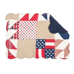 Jackson Americana Rustic Cotton Quilted Placemat Set of 6 (Rectangle), Red, C&F Home Plaid Throw Pillows, Blue Crafts, Thoughtful Christmas Gifts, Kitchen Decor Themes, Placemat Sets, Simple Colors, Quilt Sets, Star Designs, Cotton Quilts