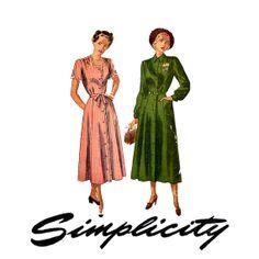 1940s Shirt Dress Day Dress Pattern Simplicity 2527 by CynicalGirl, $16.00