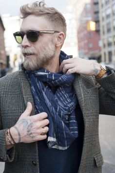 Vintage tweed, worn in cords,washed scarf, classic signet ring & Ostrich skin watchband.
