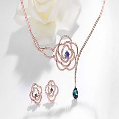 Retailer of exquisite fine and fashion jewelry Flower Jewelry, Flower Necklace, Jewelry Sets, Jewelry Necklaces, Rose Gold Color, Austrian Crystal, Fashion Jewelry, Crystals, Earrings