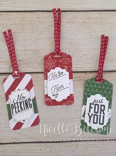 Set of 3 Christmas tags made with Be Merry Designer Series Paper and Merry Little Labels stamp set from Stampin' Up!