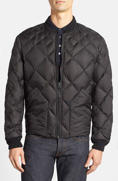 Burberry Brit 'Bollington Abmaw' Diamond Quilted Down Jacket, Graduated diamond quilting adds cool, modern appeal to a handsome jacket insulated with plush Greylag goose down fill.