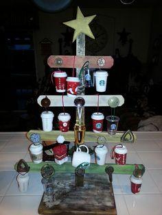 My adorable tree my honey made fir my Starbucks ornaments!