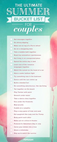 The Ultimate Summer Couples Bucket List! Yay :)