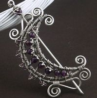 Browsing deviantART - Amethyst Wire Moon Brooch by WiredElements