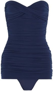 ShopStyle: Norma Kamali Walter Mio ruched bandeau swimsuit