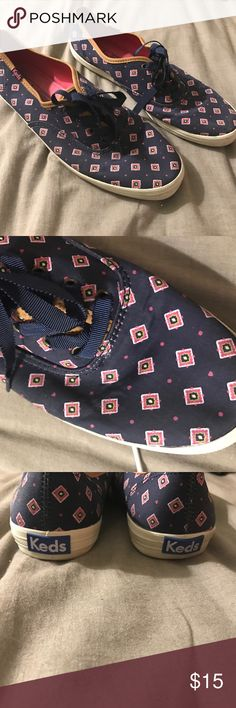 KEDS | Navy Printed Sneakers Navy printed KEDS sneakers with pink and green prints. Very cute used sneakers in great condition. Has a lot of life left in them Keds Shoes Sneakers