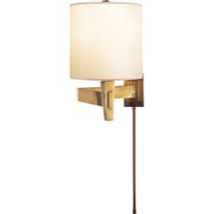 Visual Comfort Peter Talbot Architects Swing Arm in Hand-Rubbed Antique Brass with Silk Shade PT2000HAB-S