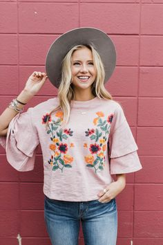 Ruby Embroidered Ruffle Top | ROOLEE