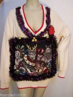 Ugly Christmas Sweater Large Reindeer Cat Kitten Tapestry Garland Tacky Foo Foo | eBay